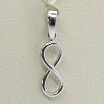 18K WHITE GOLD PENDANT CHARM INFINITY INFINITE, MADE IN ITALY 0.8 INCHES, 20 MM image 1