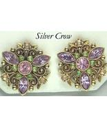 Vintage Amethyst, Pink, Peridot Rhinestone Avon Earrings Gold Tone Metal - $11.99