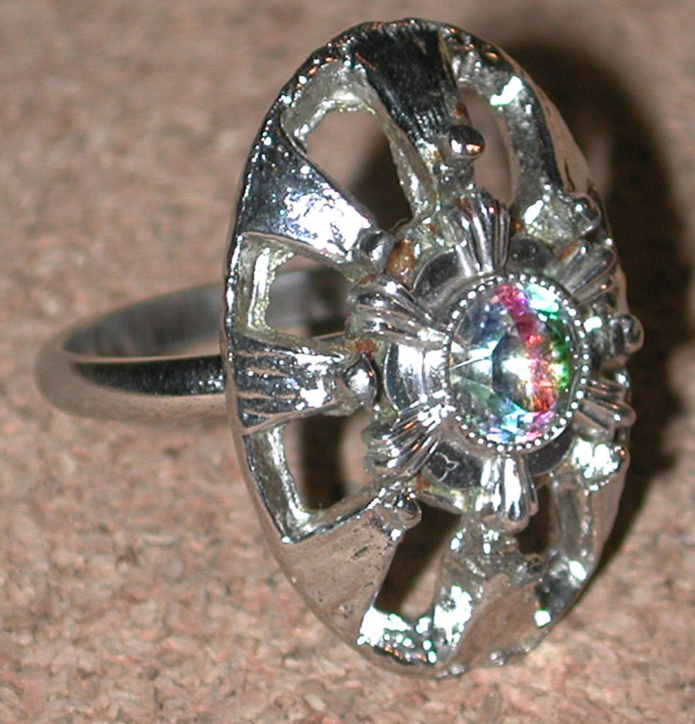 Vogue rainbow stripe RHINESTONE RING vintage