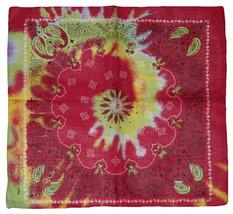 "22""x22"" Pink / Green Swirl Tye Dye Paisley 100% Cotton Bandana - $6.88"