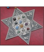 Star of David w/ 12 choshen gems as Israel tribes in English real stones ! - $24.50