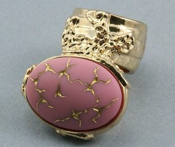 Arty Oval Ring Pink Gold Vintage Glass Abstract... - $27.99