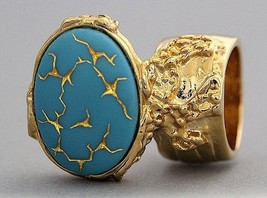 Arty Oval Ring Blue Gold Vintage Glass Abstract... - $27.99