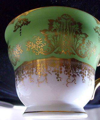 Coalport Demitasse Cup Circa 1910 Gold Green White Handpaint