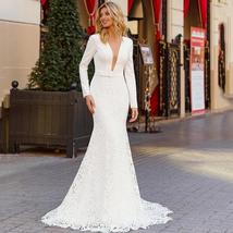 Long Sleeve Solid V Neck Lace Satin Backless Mermaid Bridal Gowns Custom Made