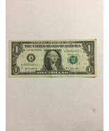 $1 One Dollar Bill 2013 US Note Low serial number, A00052621 STAR NOTE C... - $14.95