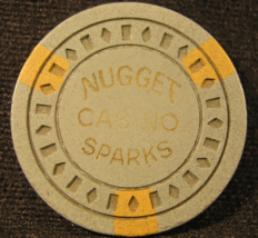 """1955 Roulette Chip From: """"Nugget Casino Of Sparks"""" - (sku#2484) - $22.88"""