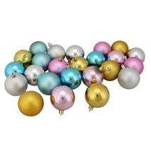 24ct Matte Shiny Pastel Multi-Color Shatterproof Christmas Ornaments 2.5... - $29.95