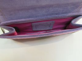 Coach Wristlet Tweed Purple Suede Wallet Buckle Handbag Clutch Monogram C image 9