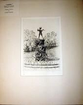 Original Signed Engraving ca1920 James Grant Peter Pans Statue Kensington - $79.13