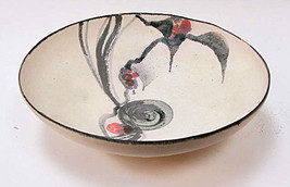 "Beautiful Japanese Bisque China Decorated Signed 7"" Bowl by Suk Hara - $153.93"