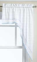 LORRAINE HOME FASHIONS Adirondack Swag, 60 by 38-Inch, White/Blue - $15.96