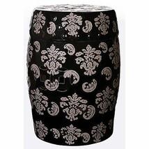 """Porcelain Garden Stool Gray On Black 19"""" - 66931 - $98.99"""
