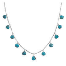 "16"" Necklace with 11 Faceted Turquoise Drops - $106.23"
