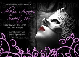 Masquerade Themed Birthday, Sweet Sixteen Custom Invitation: Personalized - $0.99