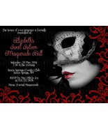 Red, Black Masquerade Birthday, Sweet Sixteen Custom Invitation: Persona... - $0.99