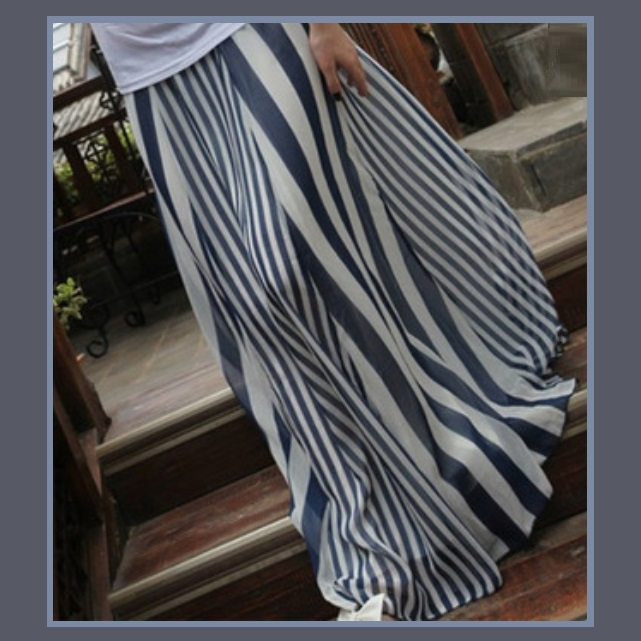 Flowing Vintage Long Chiffon Bohemian Irregular Stripe Skirt in Navy or Black
