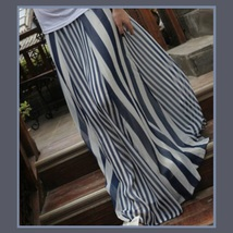 Flowing Vintage Long Chiffon Bohemian Irregular Stripe Skirt in Navy or Black image 1
