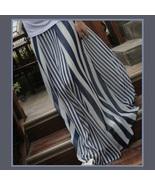 Flowing Vintage Long Chiffon Bohemian Irregular Stripe Skirt in Navy or ... - $39.95
