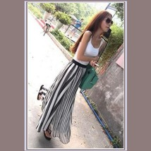 Flowing Vintage Long Chiffon Bohemian Irregular Stripe Skirt in Navy or Black image 2