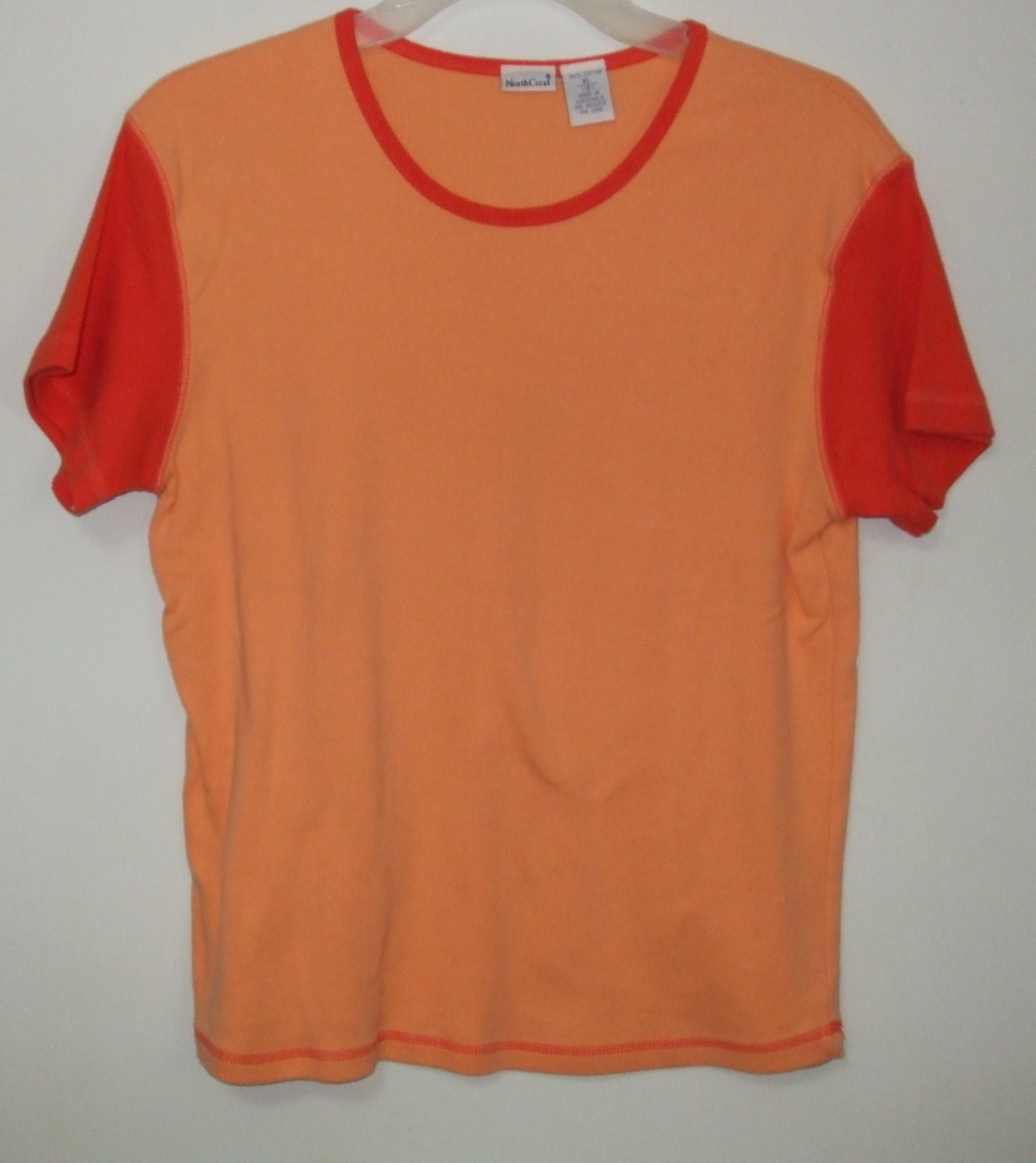 Womens North Crest Orange Short Sleeve Top Size XL