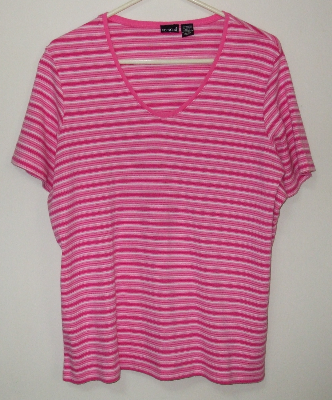 Womens North Crest Pink White Short Sleeve Stripe Top Size 1X