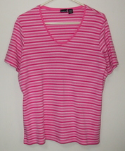Womens North Crest Pink White Short Sleeve Stripe Top Size 1X - $3.95