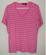Womens North Crest Pink White Short Sleeve Stripe Top Size 1X - $3.95