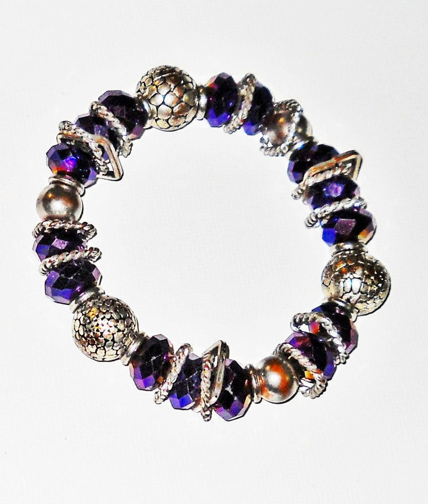 PURPLE GLASS LUSTER BEADS  & SILVERTONE METAL BEADS & SPACERS on Stretch String
