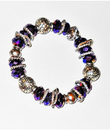 PURPLE GLASS LUSTER BEADS  & SILVERTONE METAL BEADS & SPACERS on Stretch... - $4.95