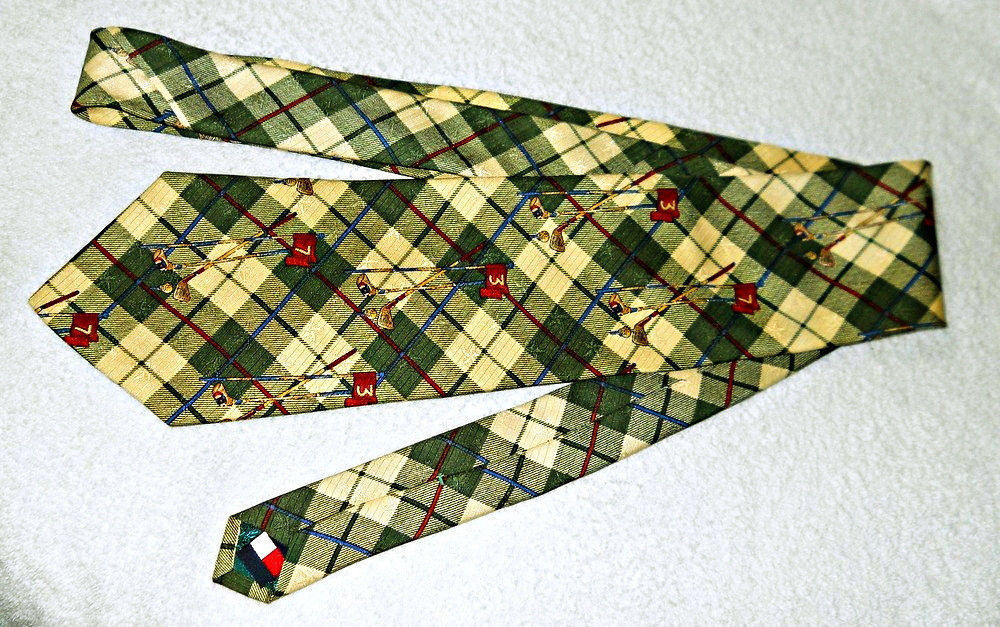 TOMMY HILFIGER Golf Pattern Tie Italian Silk Made in USA