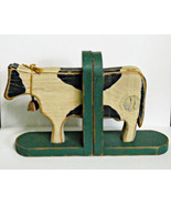 Wooden Country Cow Bookends in Shabby Chic or Primitive Style - $12.95