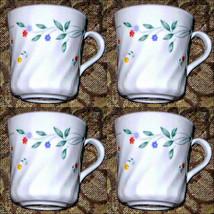 4 English Meadow Corningware Coffee Chocolate Mugs or  Tea Cups  1980s - $9.95