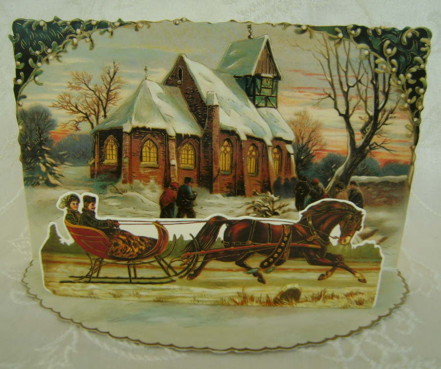 Victorian Christmas Card Reproduction Depicts Village