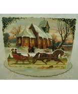Victorian Christmas Card Reproduction Depicts Village & Sleighride  - $4.00