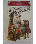 Victorian Christmas Card Reproduction Father Christmas & Children - $7.00