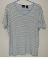 Womens Sonoma Jean Co Blue Tan White Short Sleeve Stripe V Neck Top XL  - $3.95