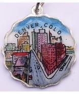 DENVER COLORADO Silver Enamel Shield Bracelet Charm WOW - $45.61