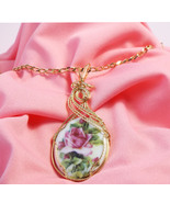 Rose Picture Porcelain Cabochon Handcrafted - $48.00