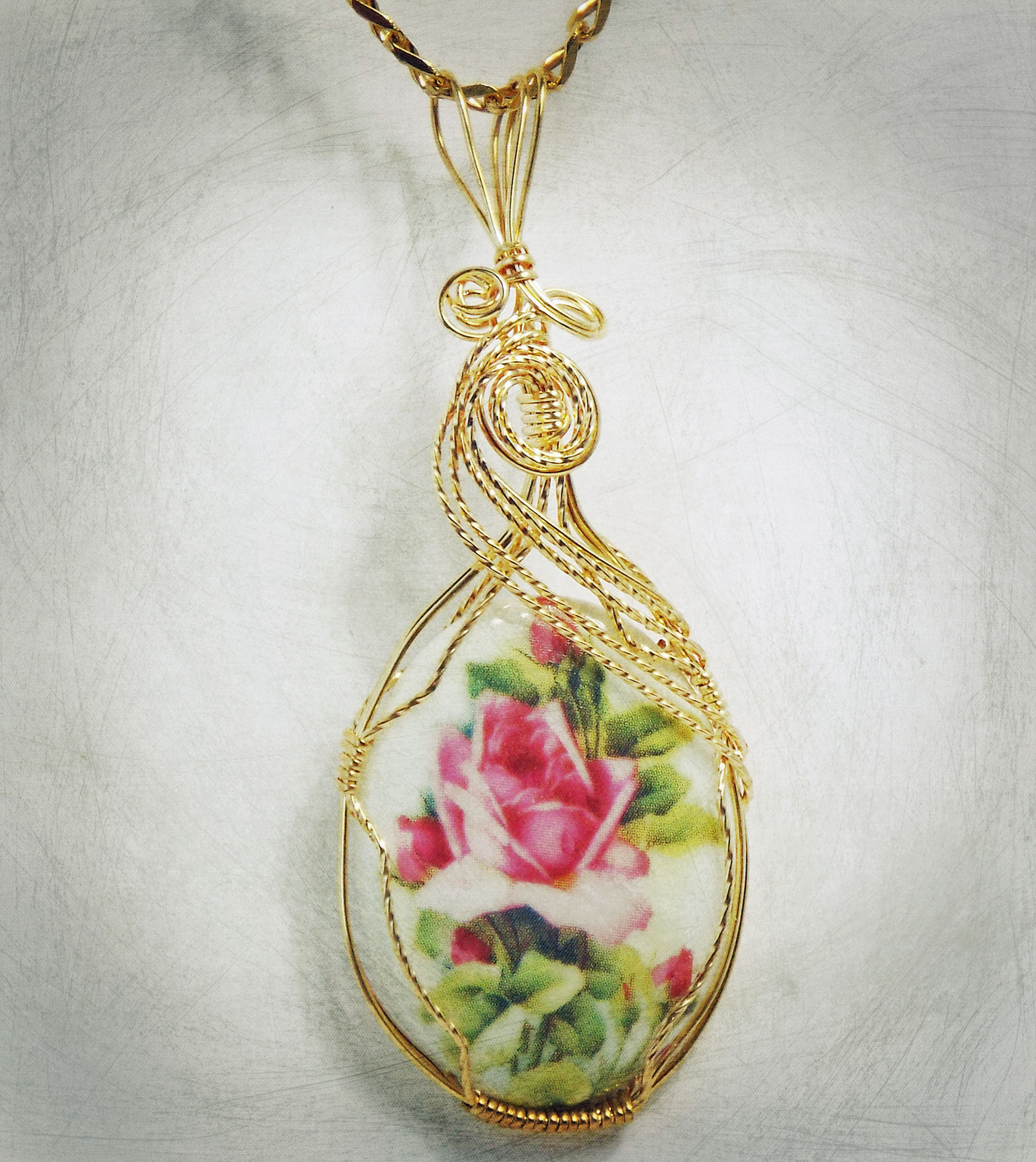 Rose Picture Porcelain Cabochon Handcrafted
