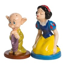 Walt Disney Snow White Kissing Dopey Sculpted Ceramic Salt Pepper Set NE... - $17.41
