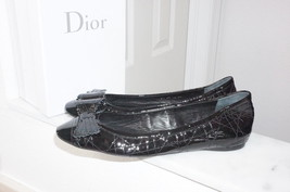 $690+NEW Christian Dior Black Patent Leather Bow  Ballet Flats IT40/US9-9.5 - $350.00