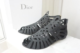 $890+NEW Christian Dior Black Leather Gladiator Flat Sandals IT40/US9.5-10 - $375.00