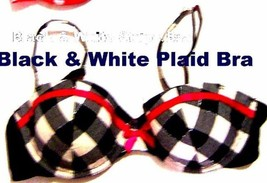 Sz 36C - Xhilaration #227643 Black & White Plaid w/Red Accents Padded Bra - $18.99