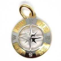 Pendant Yellow Gold White 750 18K, Pink Wind Rose Twenty, Compass, Made In Italy - $166.55