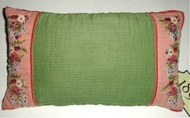 Sferra Top Notch Decorative Pillow Floral Embroidery/Pleats Green/Pink 9... - $824,99 MXN