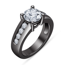 Women's Modern Solitaire With Accents Black Gold Fn 925 Silver Engagemen... - $1.411,35 MXN