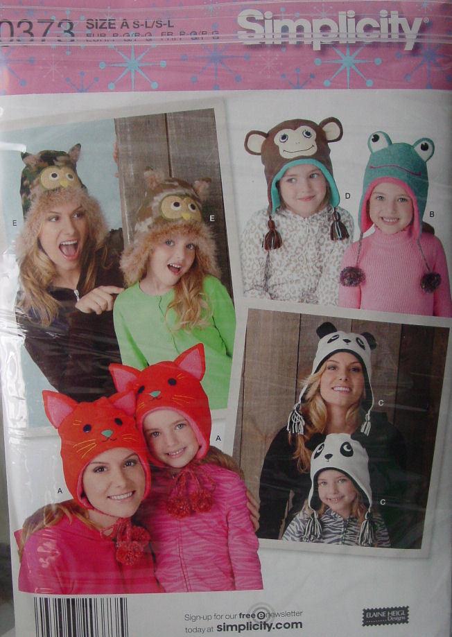 Pattern 0373 Animal Face Hats Monkey, Frog, Owl, Cat, Panda Child or Miss sizes