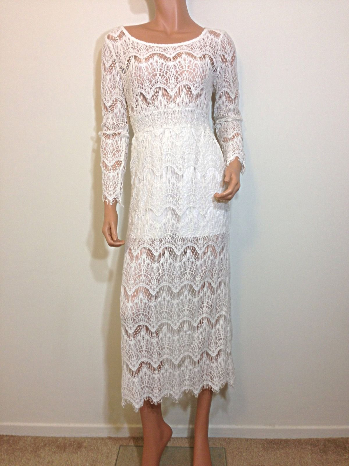 White lace maxi dress bohemian hippie long wedding small for Lace maxi wedding dress