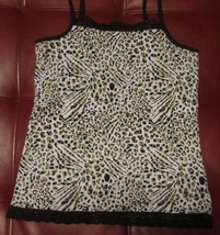 Arizona Jeans Co. Favorite-Stretch Cotton Cami Cheetah Print w/Lace Trim S:12 - $5.00